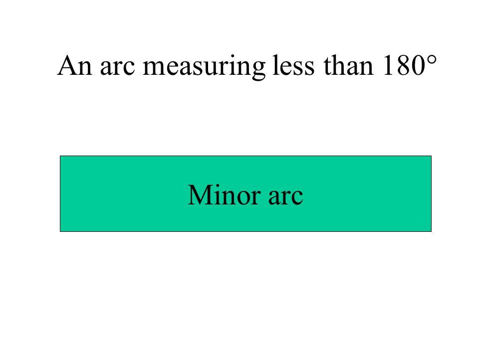 An arc measuring less than 180° Minor arc