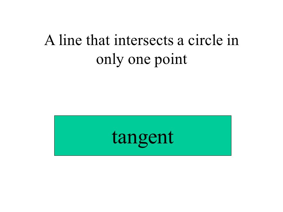 A line that intersects a circle in only one point tangent