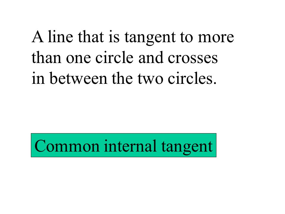 A line that is tangent to more than one circle and crosses in between the two circles. Common internal tangent
