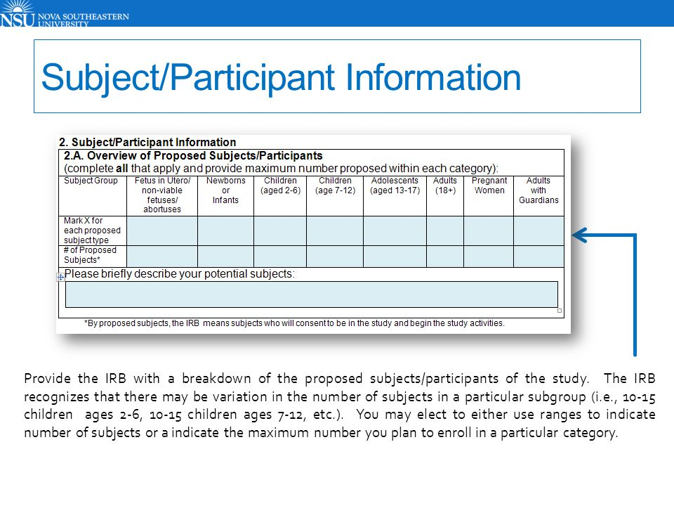 Subject/Participant Information Provide the IRB with a breakdown of the proposed subjects/participants of the study. The IRB recognizes that there may