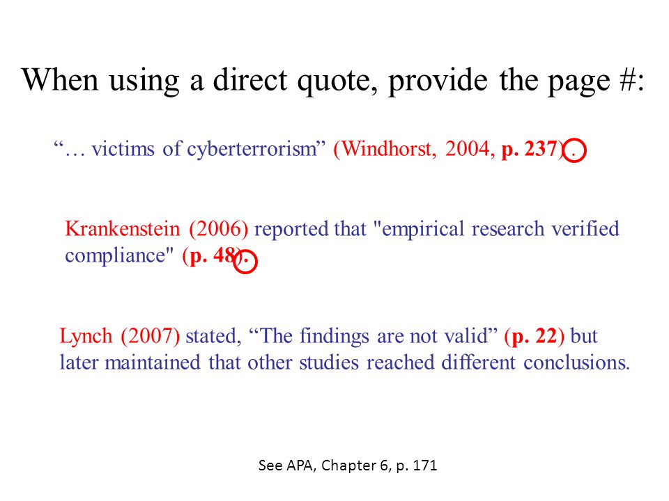 "When using a direct quote, provide the page #: ""… victims of cyberterrorism"" (Windhorst, 2004, p. 237). Krankenstein (2006) reported that"