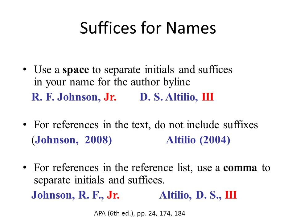 Suffices for Names Use a space to separate initials and suffices in your name for the author byline R. F. Johnson, Jr. D. S. Altilio, III For referenc