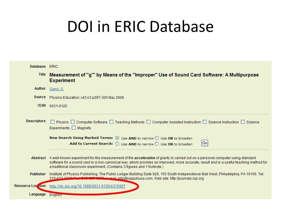 DOI in ERIC Database