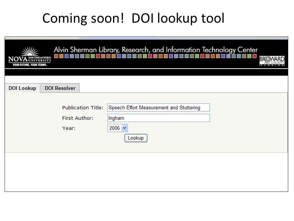 Coming soon! DOI lookup tool