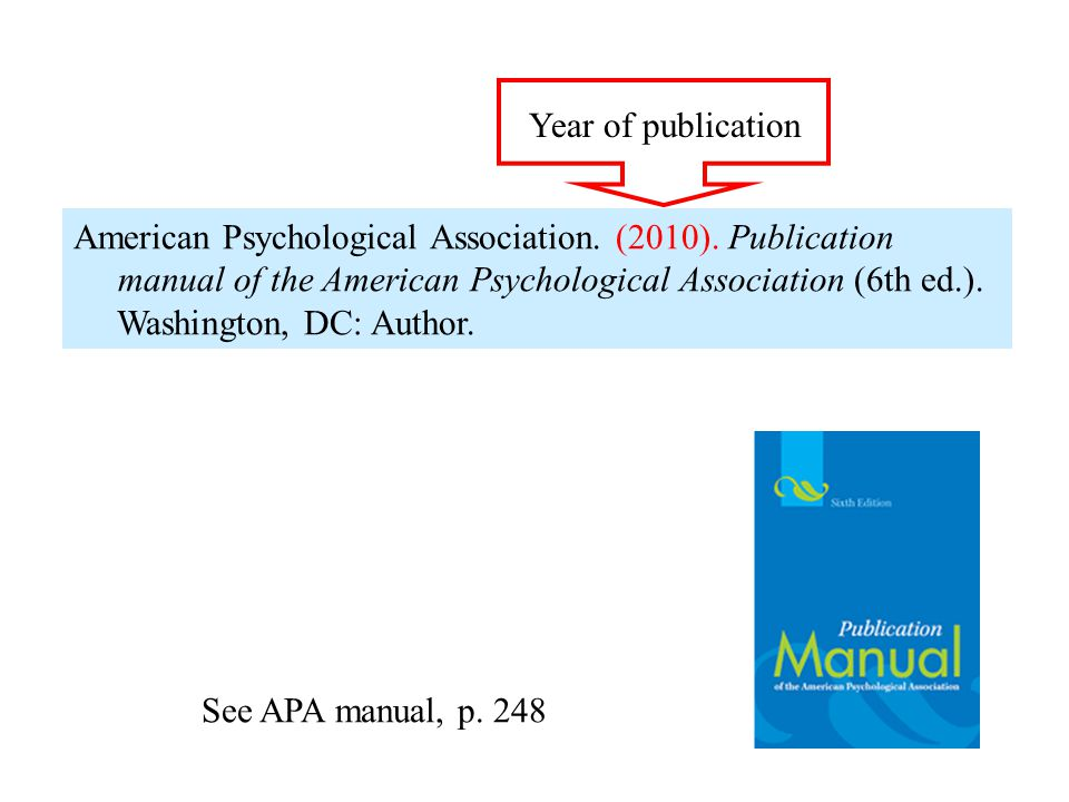 American Psychological Association. (2010). Publication manual of the American Psychological Association (6th ed.). Washington, DC: Author. Year of pu