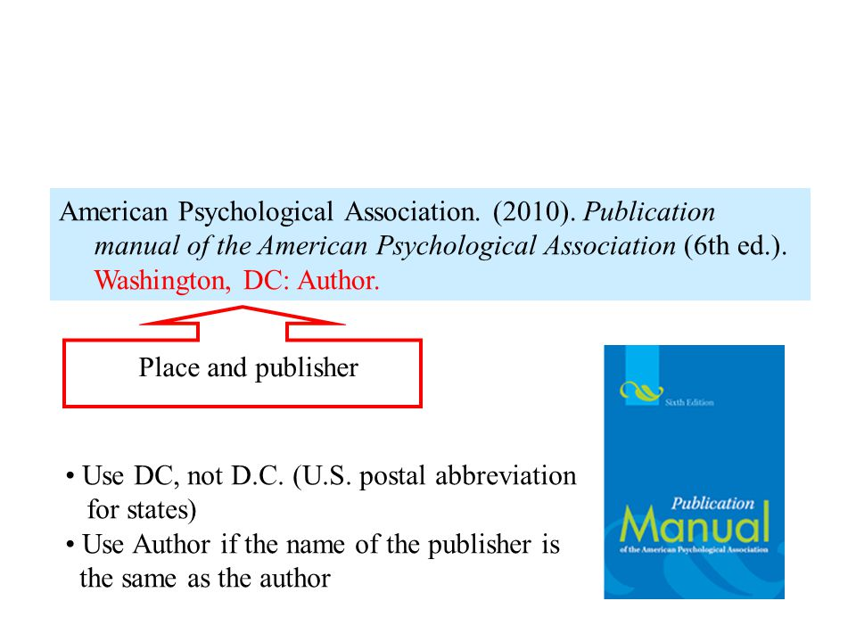 American Psychological Association. (2010). Publication manual of the American Psychological Association (6th ed.). Washington, DC: Author. Place and