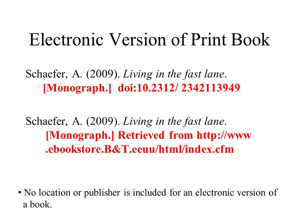 Electronic Version of Print Book Schaefer, A. (2009). Living in the fast lane. [Monograph.] doi:10.2312/ 2342113949 Schaefer, A. (2009). Living in the