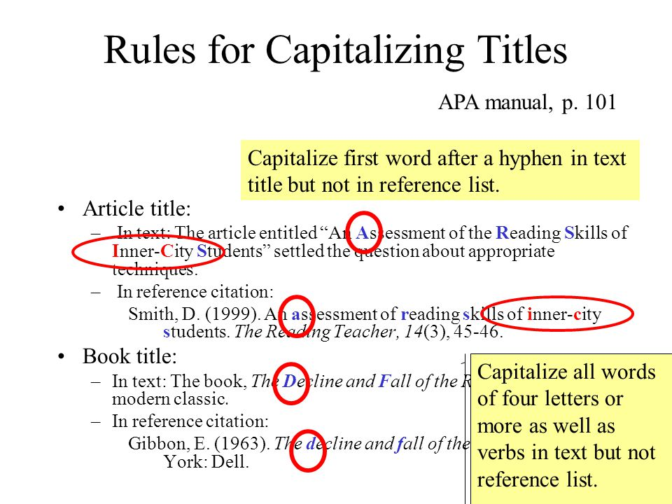 "Rules for Capitalizing Titles Article title: – In text: The article entitled ""An Assessment of the Reading Skills of Inner-City Students"" settled the"