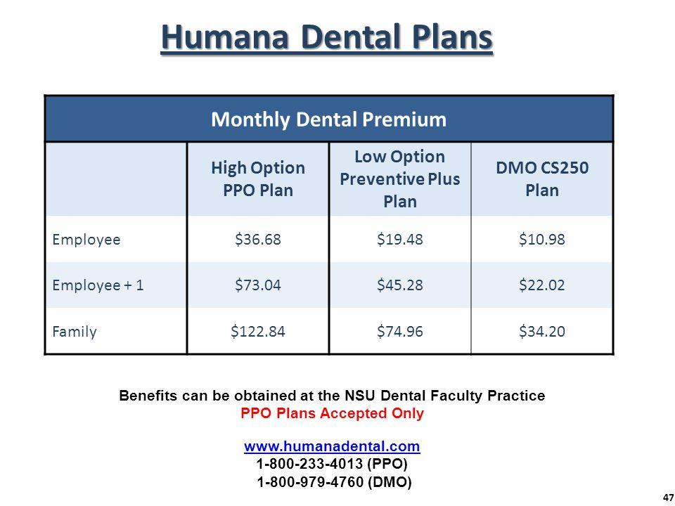 Humana Dental Plans Monthly Dental Premium High Option PPO Plan Low Option Preventive Plus Plan DMO CS250 Plan Employee$36.68$19.48$10.98 Employee + 1