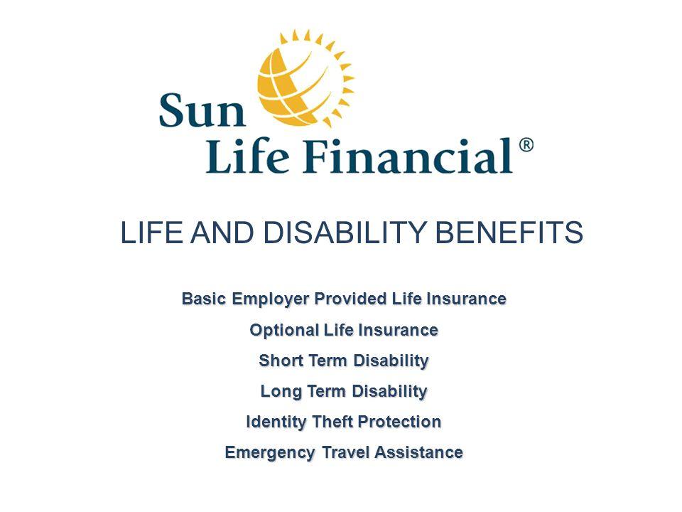 Basic Employer Provided Life Insurance Optional Life Insurance Short Term Disability Long Term Disability Identity Theft Protection Emergency Travel A
