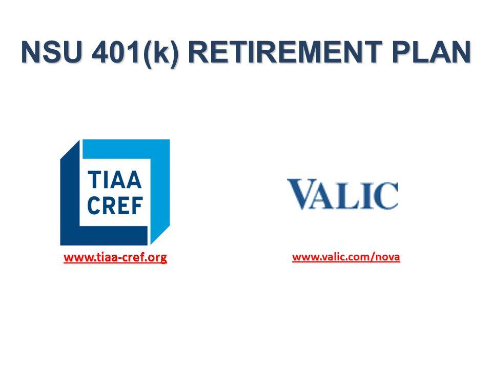 NSU 401(k) RETIREMENT PLAN www.tiaa-cref.org www.valic.com/nova