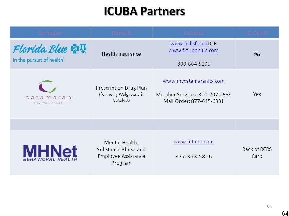 ICUBA Partners 64 CompanyBenefitContactID Card? Health Insurance www.bcbsfl.comwww.bcbsfl.com OR www.floridablue.com 800-664-5295 Yes Prescription Dru