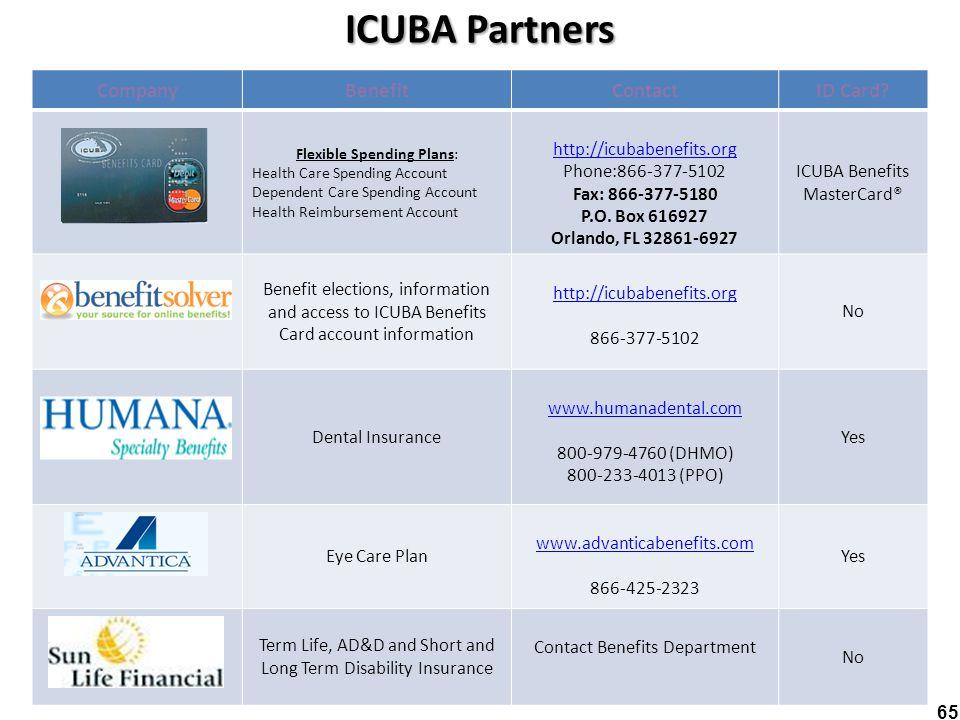 ICUBA Partners 65 : CompanyBenefitContactID Card? Flexible Spending Plans: Health Care Spending Account Dependent Care Spending Account Health Reimbur