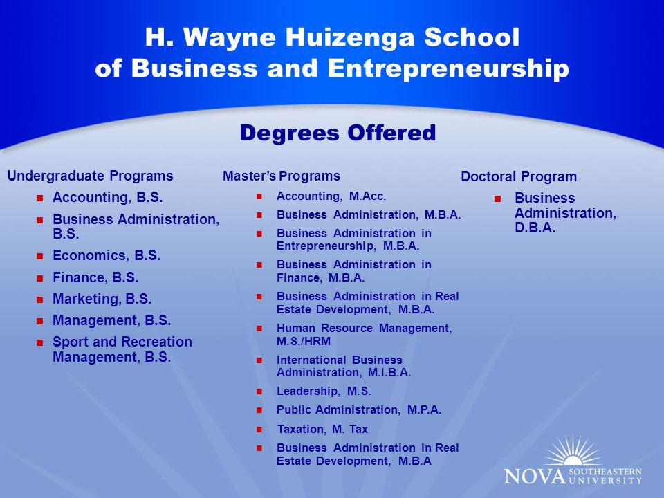 H. Wayne Huizenga School of Business and Entrepreneurship Undergraduate Programs Accounting, B.S.