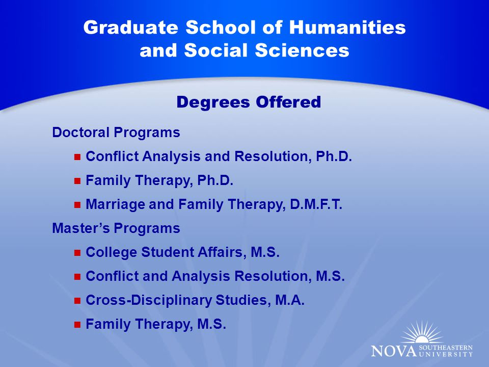 Graduate School of Humanities and Social Sciences Doctoral Programs Conflict Analysis and Resolution, Ph.D.