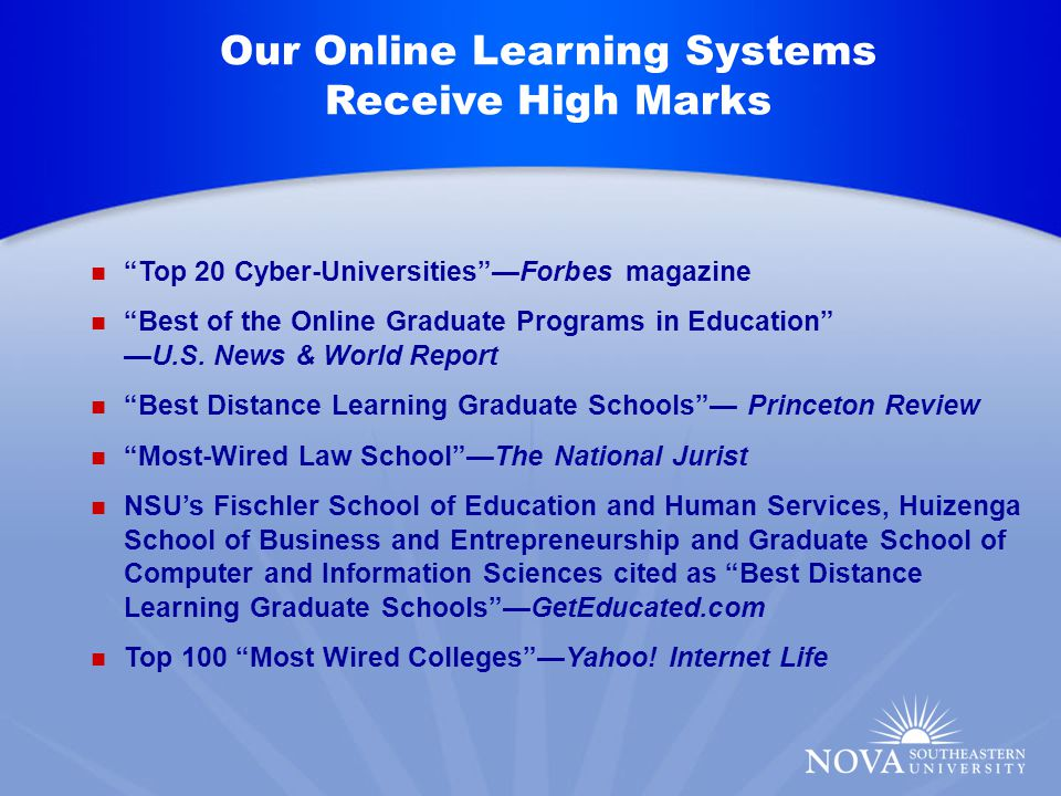 Top 20 Cyber-Universities —Forbes magazine Best of the Online Graduate Programs in Education —U.S.