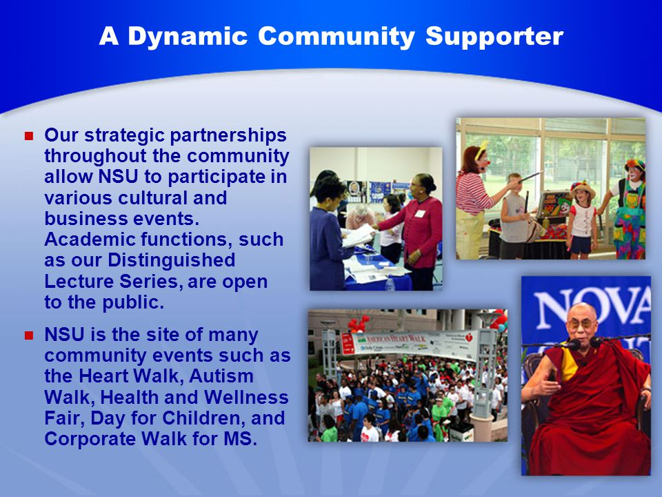 A Dynamic Community Supporter Our strategic partnerships throughout the community allow NSU to participate in various cultural and business events.