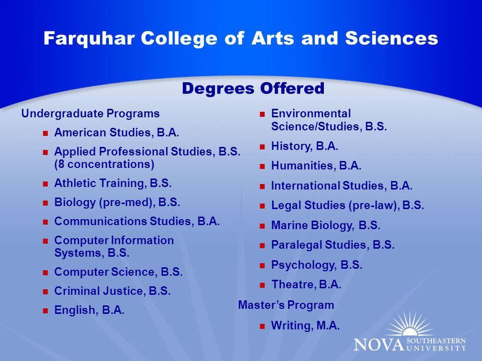 Undergraduate Programs American Studies, B.A. Applied Professional Studies, B.S.