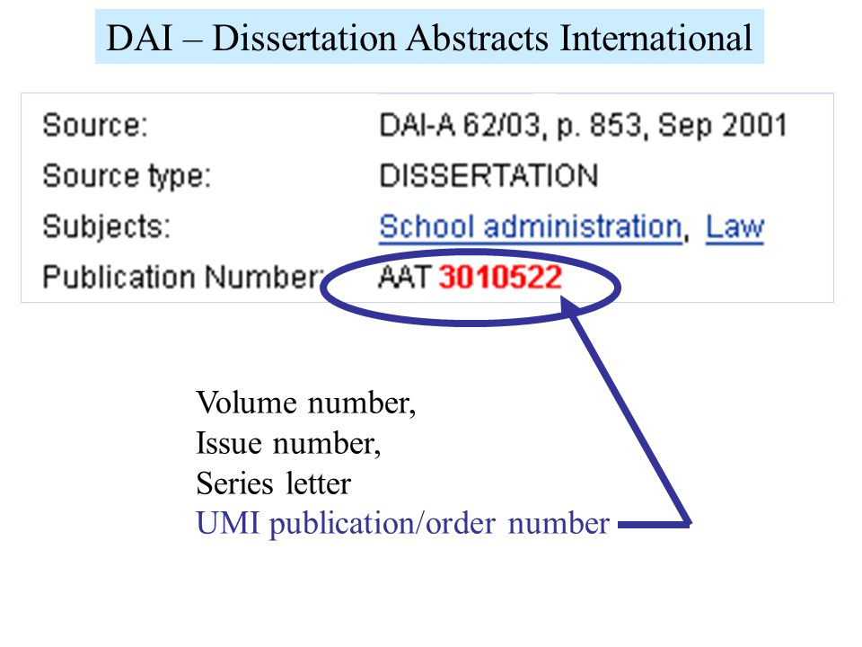 Volume number, Issue number, Series letter UMI publication/order number DAI – Dissertation Abstracts International