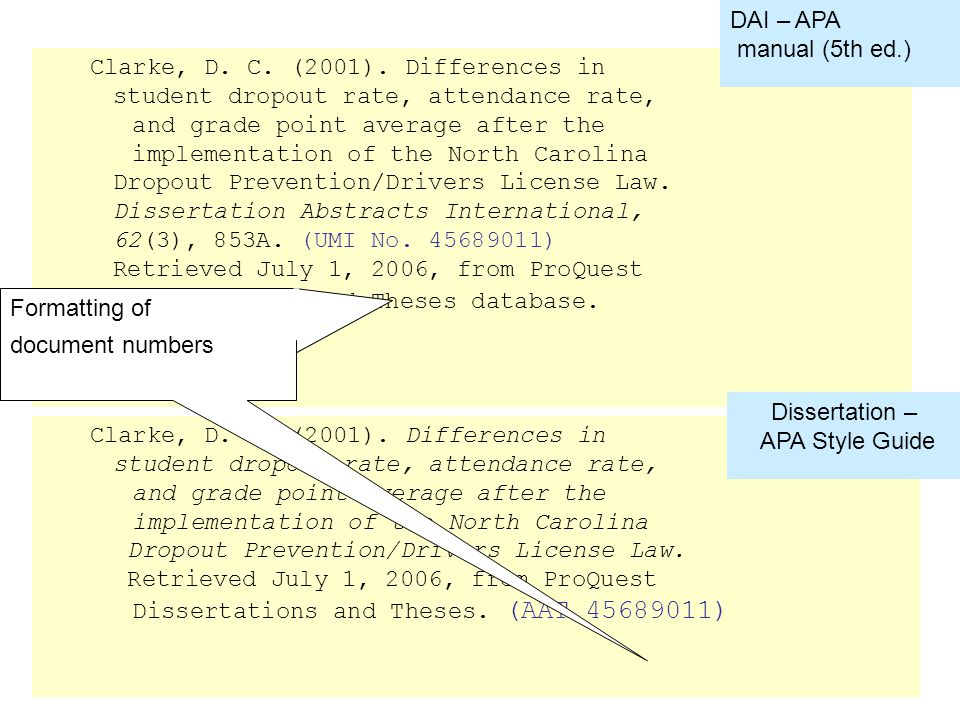 Compare APA 5 th ed and APA Style Guide formatting –UMI# Clarke, D.