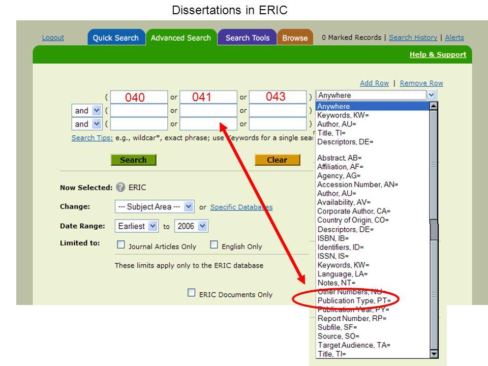 040 Dissertations in ERIC 041 043