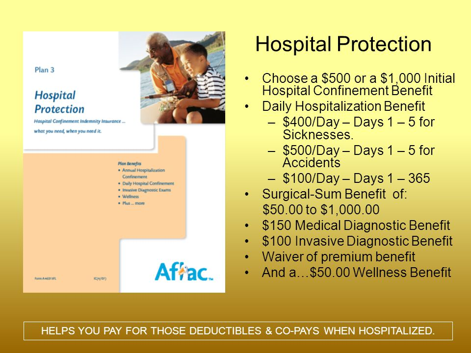 Hospital Protection Choose a $500 or a $1,000 Initial Hospital Confinement Benefit Daily Hospitalization Benefit –$400/Day – Days 1 – 5 for Sicknesses.
