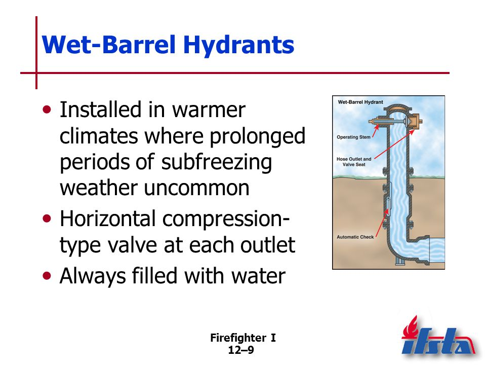 Firefighter I 12–9 Wet-Barrel Hydrants Installed in warmer climates where prolonged periods of subfreezing weather uncommon Horizontal compression- ty