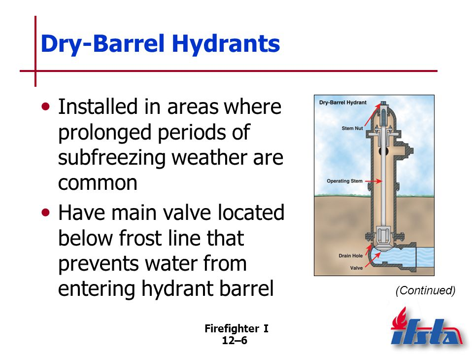 Firefighter I 12–6 Dry-Barrel Hydrants Installed in areas where prolonged periods of subfreezing weather are common Have main valve located below fros