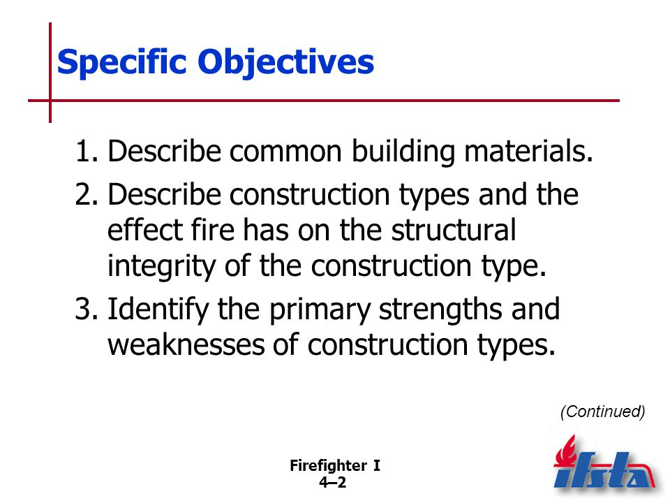 Firefighter I 4–34–3 Specific Objectives 4.Describe dangerous building conditions created by a fire or by actions taken while trying to extinguish a fire.