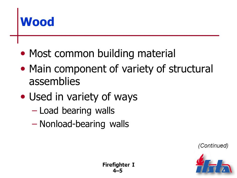 Firefighter I 4–46 Review Questions 1.What are common materials found in building construction.