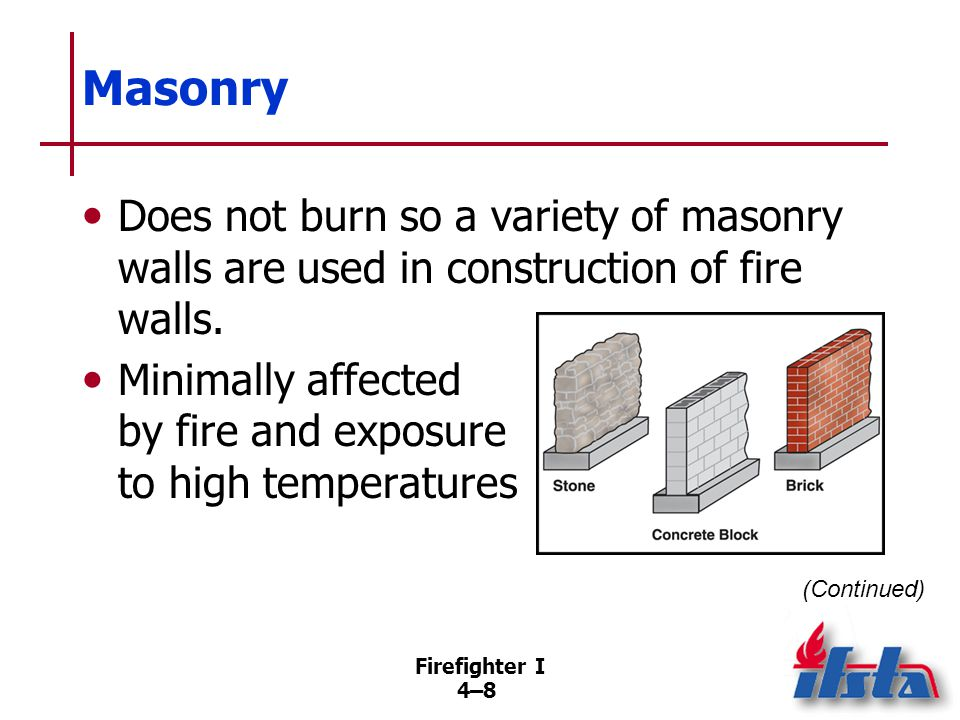 Firefighter I 4–94–9 Masonry Components –Bricks –Stones –Concrete blocks –Mortar Rapid cooling may cause cracking; should be inspected for damage signs.