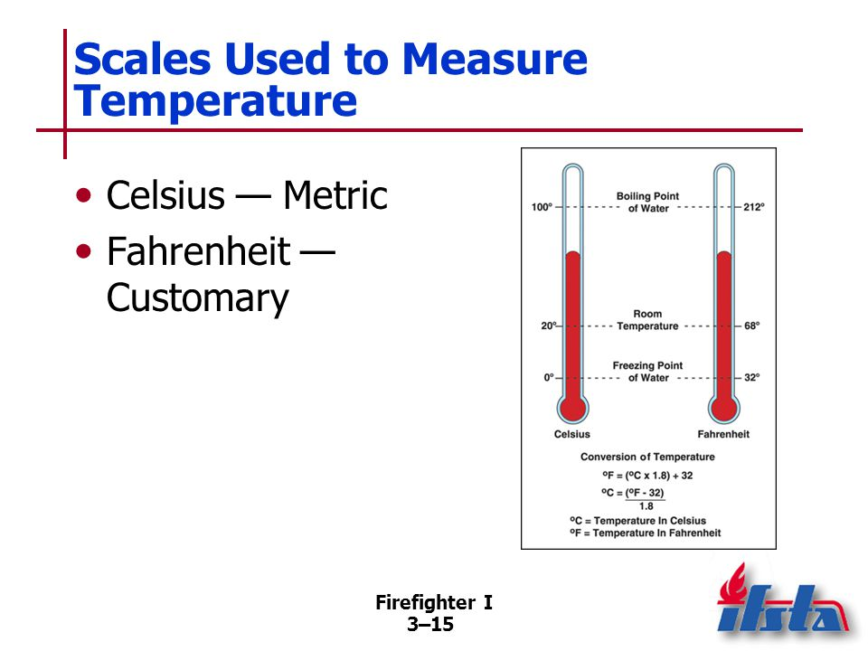 Firefighter I 3–15 Scales Used to Measure Temperature Celsius — Metric Fahrenheit — Customary