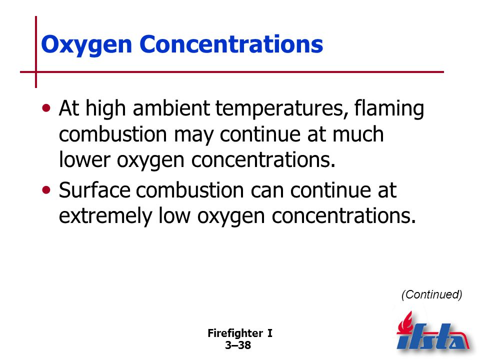 Firefighter I 3–38 Oxygen Concentrations At high ambient temperatures, flaming combustion may continue at much lower oxygen concentrations.