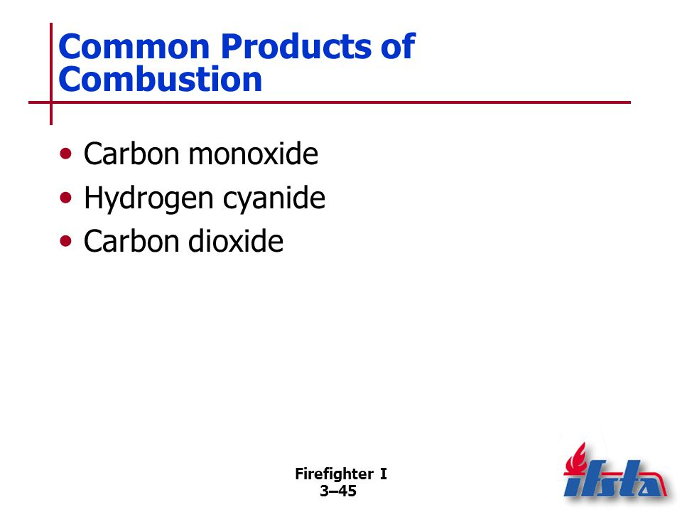Firefighter I 3–45 Common Products of Combustion Carbon monoxide Hydrogen cyanide Carbon dioxide