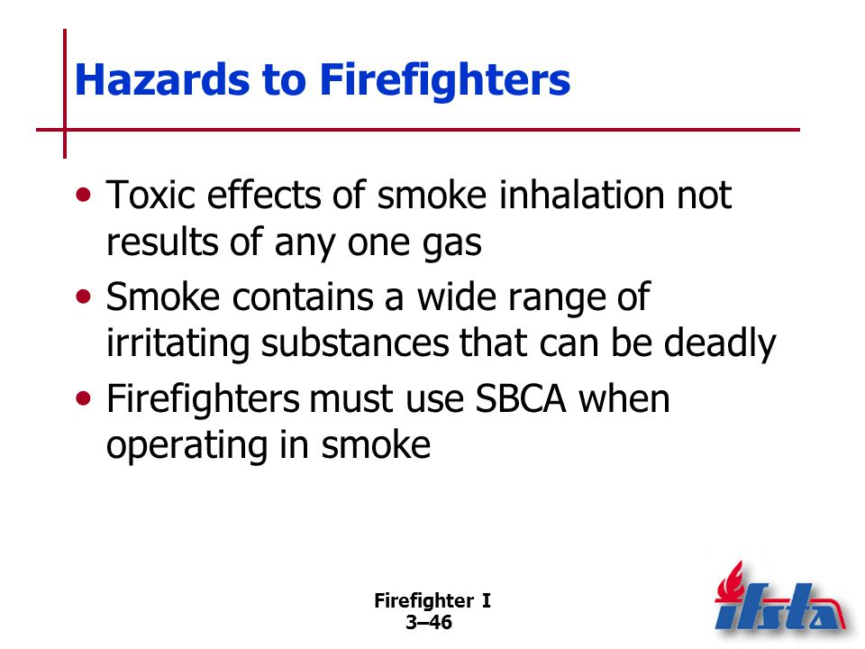 Firefighter I 3–46 Hazards to Firefighters Toxic effects of smoke inhalation not results of any one gas Smoke contains a wide range of irritating substances that can be deadly Firefighters must use SBCA when operating in smoke