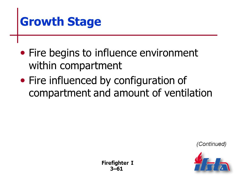 Firefighter I 3–61 Growth Stage Fire begins to influence environment within compartment Fire influenced by configuration of compartment and amount of ventilation (Continued)