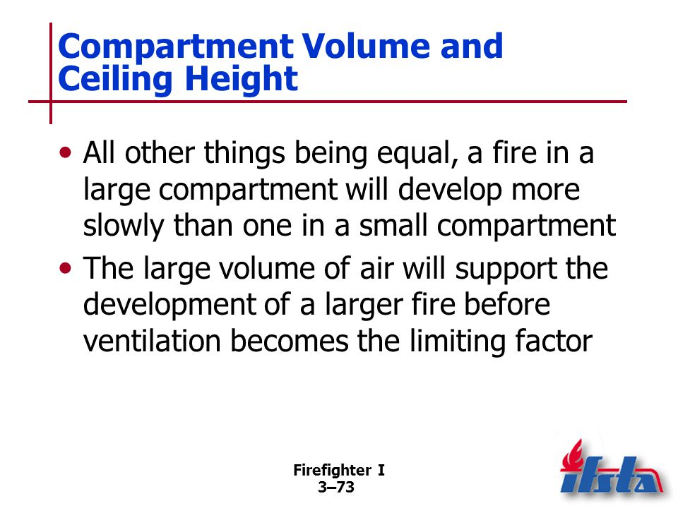 Firefighter I 3–73 Compartment Volume and Ceiling Height All other things being equal, a fire in a large compartment will develop more slowly than one in a small compartment The large volume of air will support the development of a larger fire before ventilation becomes the limiting factor