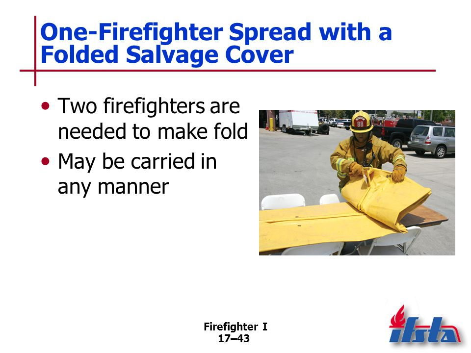 Firefighter I 17–44 Two-Firefighter Spread with a Folded Salvage Cover Large salvage covers cannot be easily handled by a single firefighter Carry this fold on the shoulder with open edges next to neck (Continued)