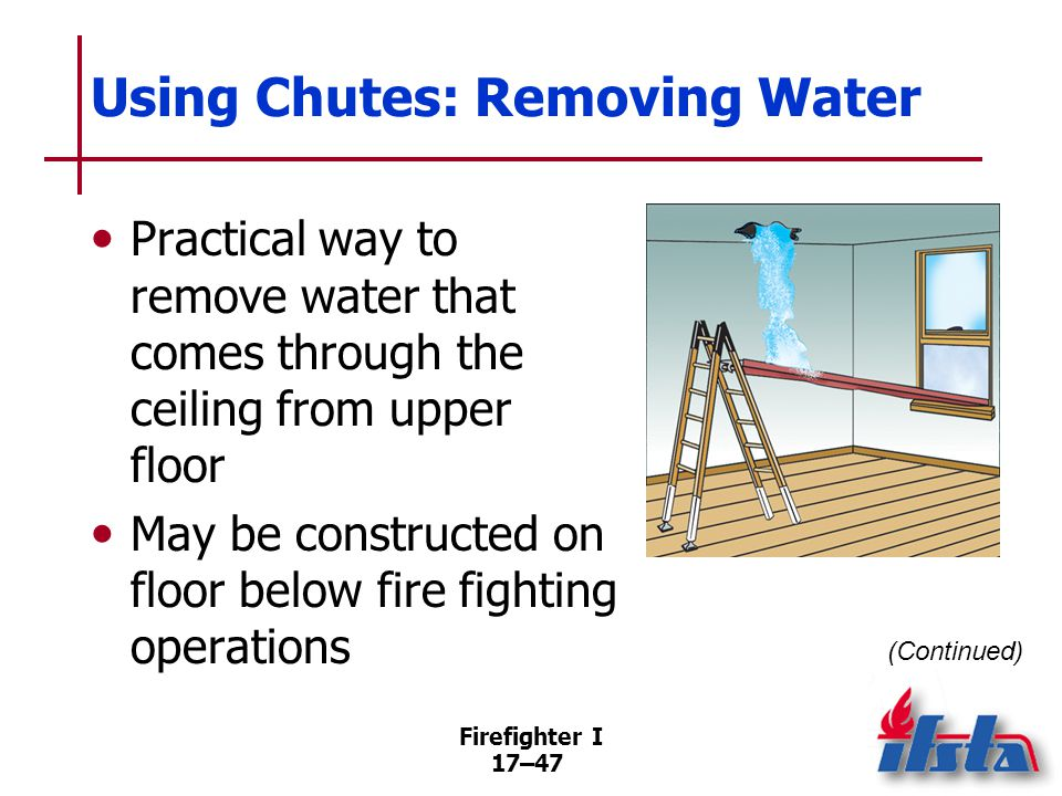 Firefighter I 17–48 Using Chutes: Removing Water Prepared chutes are approximately 10 feet (3 m) long Chutes can be constructed from plastic sheeting, a heavy-duty stapler, and duct tape
