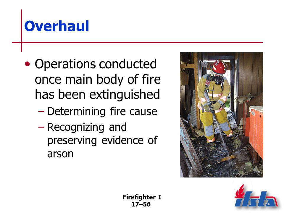 Firefighter I 17–57 Safety During Overhaul Steps required –Inspecting premises –Developing operational plan –Providing tools and equipment –Eliminating or mitigating hazards (Continued)