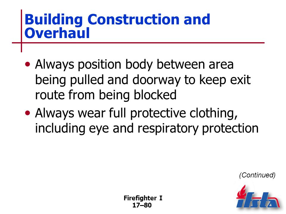 Firefighter I 17–81 Building Construction and Overhaul Small burning objects –Submerge entire objects in containers of water –Bathtubs, sinks, lavatories, wash tubs Remove larger furnishings to the outside (Continued)