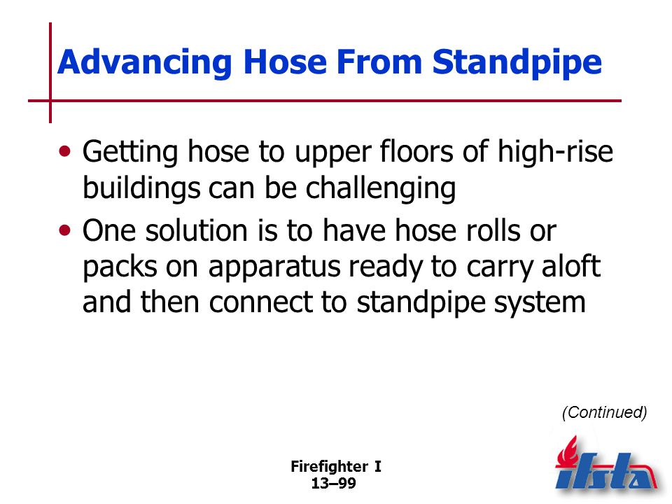 Firefighter I 13–99 Advancing Hose From Standpipe Getting hose to upper floors of high-rise buildings can be challenging One solution is to have hose rolls or packs on apparatus ready to carry aloft and then connect to standpipe system (Continued)