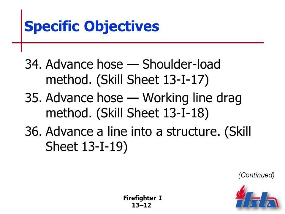 Firefighter I 13–12 Specific Objectives (Continued) 34.Advance hose — Shoulder-load method.
