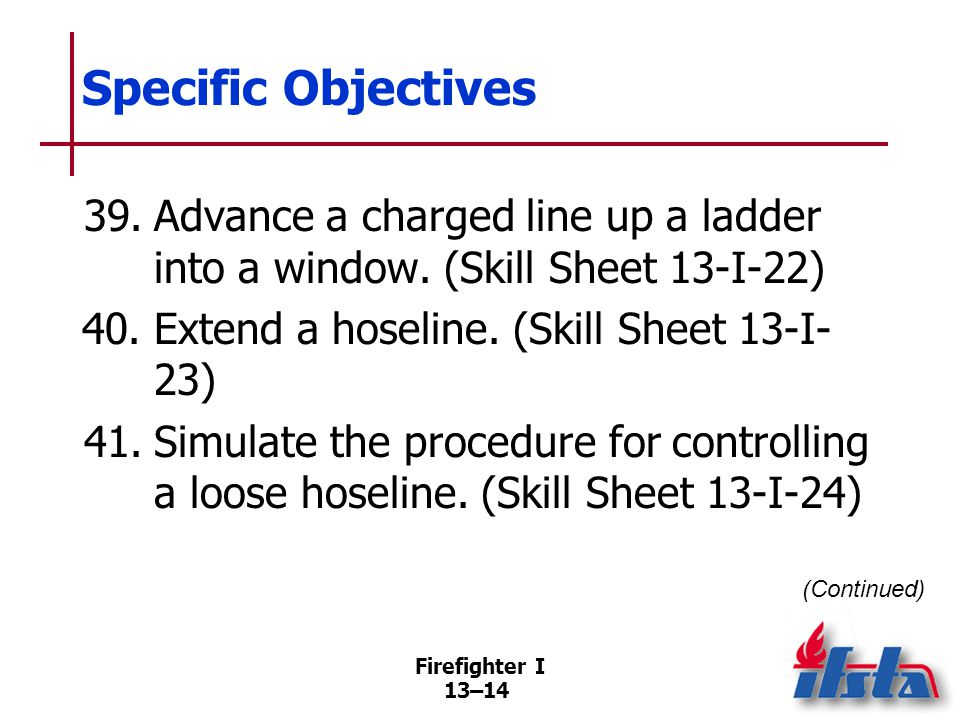 Firefighter I 13–14 Specific Objectives (Continued) 39.Advance a charged line up a ladder into a window.