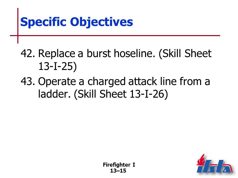 Firefighter I 13–15 Specific Objectives 42.Replace a burst hoseline.