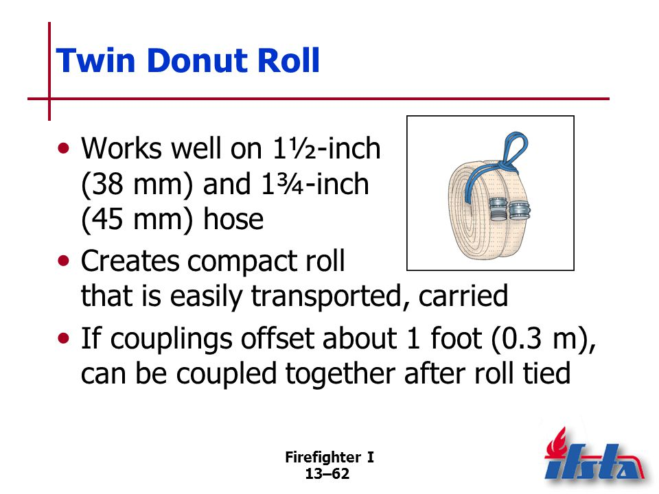 Firefighter I 13–62 Twin Donut Roll Works well on 1½-inch (38 mm) and 1¾-inch (45 mm) hose Creates compact roll that is easily transported, carried If couplings offset about 1 foot (0.3 m), can be coupled together after roll tied
