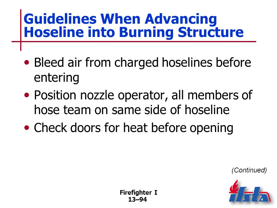 Firefighter I 13–94 Guidelines When Advancing Hoseline into Burning Structure Bleed air from charged hoselines before entering Position nozzle operator, all members of hose team on same side of hoseline Check doors for heat before opening (Continued)