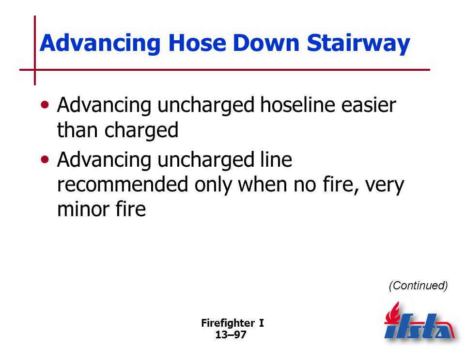 Firefighter I 13–97 Advancing Hose Down Stairway Advancing uncharged hoseline easier than charged Advancing uncharged line recommended only when no fire, very minor fire (Continued)