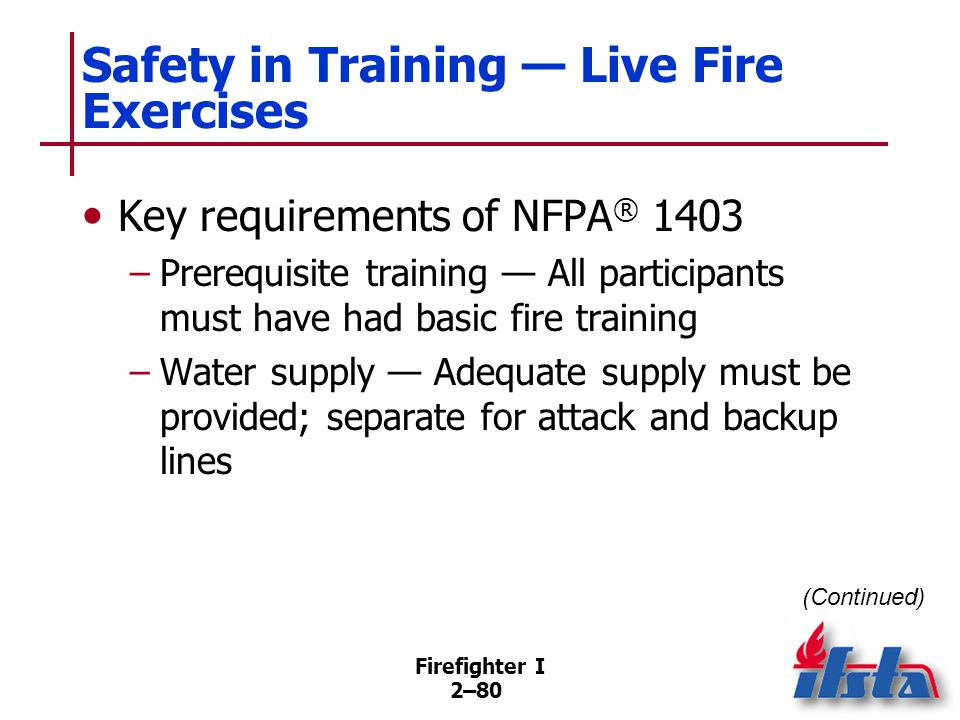 Firefighter I 2–80 Safety in Training — Live Fire Exercises Key requirements of NFPA ® 1403 –Prerequisite training — All participants must have had ba