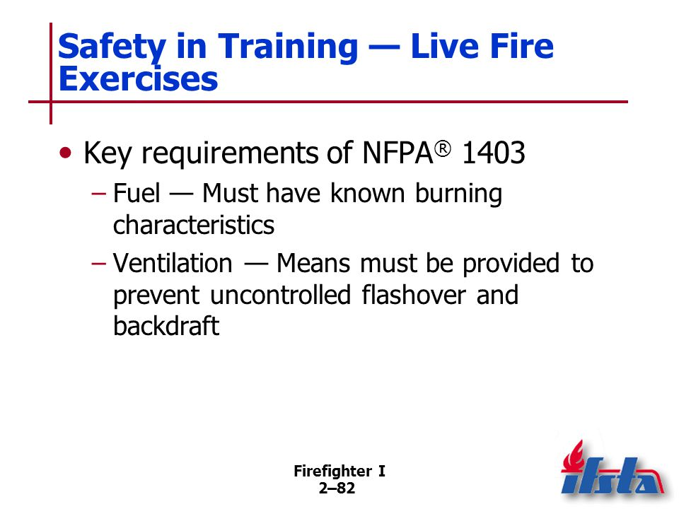 Firefighter I 2–82 Safety in Training — Live Fire Exercises Key requirements of NFPA ® 1403 –Fuel — Must have known burning characteristics –Ventilati
